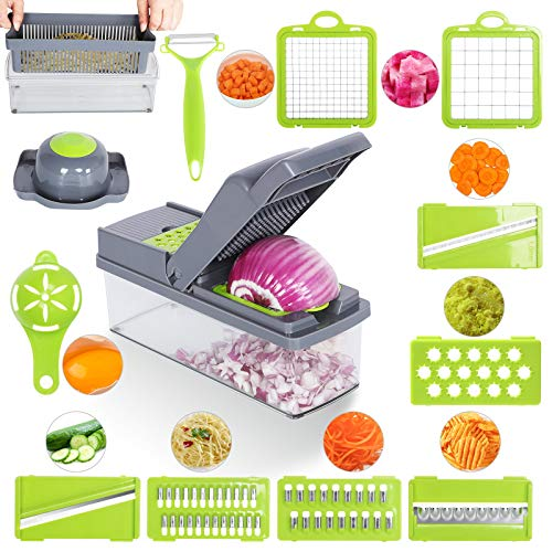 InPoTo 14 in 1 Vegetable Chopper Multifunctional Mandoline Slicer Dicer Household Kitchen Manual Julienne Grater Cutter for Onion Garlic Carrot Potato Tomato Fruit Salad