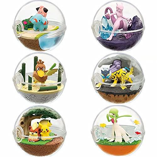6Pcs/Set Pokemon Anime Toys Decor Pikachu Pokeball + 1 Tiny Figures Wobbuffet Mewtwo Lapras Snorlax Articuno Charizard Anime Toys Doll Child Birthday 6.5