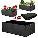 5Pcs Fabric Raised Garden Bed Reusable Square Large Grow Bag Fabric Raised Garden Bed Fabric Pots Vegetable Planting Bag with Duty Handles Planting Pots for Plants Flowers Vegetables