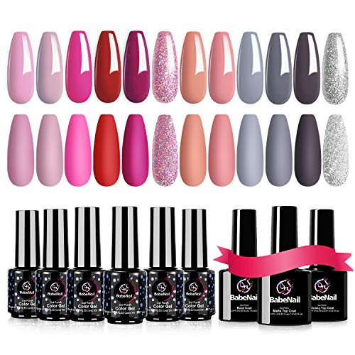 BabeNail Gel Nail Polish Set - 12 Colors + 3 Base Top Coat Soak Off Nude Grays Purple Glitter Color 21+ Days Long Lasting LED UV Gel Polish Kit - Manicure Kit Glossy & Matte Top Coat and Base Coat