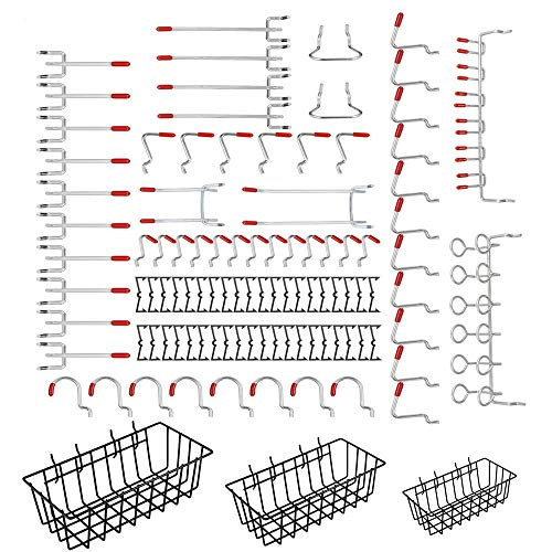 Pegboard Hook Assortment,Cheaboom 98 Pcs Pegboard Hooks and Organizer Assortment with 3 Peggable Wire Basket Set(Pack of 101)