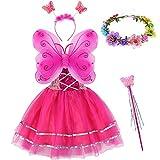 Tacobear 5 Pièces Déguisement Fée Enfant Costume Papillon avec Fée Baguette Ailes de Fée Robe Fée Bandeau Couronne Fleurs Cheveux Fée Costume Princesse Fête Anniversaire pour Fille Enfant (Rose foncé)