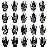 Xmasir Henna Tattoo Stencil Kit/Temporary Tattoo Template Set of 20 Sheets, Indian Arabian Tattoo Stickers Mehndi Stencils Body Art Designs for Hands