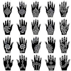 in budget affordable Xmasir Henna Tattoo Stencil Set / 20 Temporary Tattoo Template Kits, Indian-Arabic Tattoo…