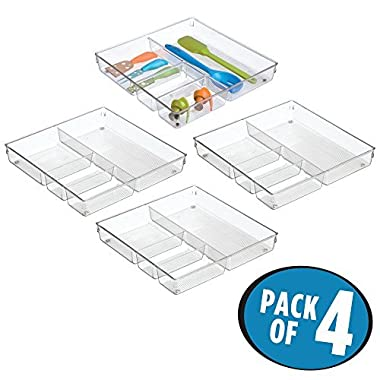 mDesign Square 4 Compartment Kitchen Cabinet Drawer Organizer Tray - Divided Sections for Cutlery, Serving Spoons, Cooking Utensils, Gadgets - BPA Free, Food Safe, 2  Deep, Pack of 4, Clear