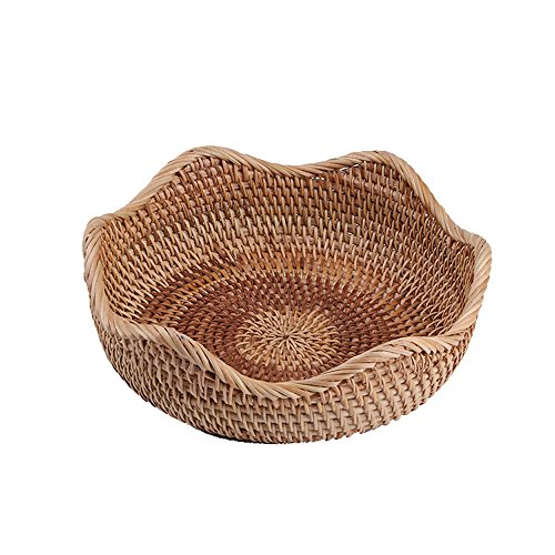 AMOLOLO Handmade Rattan Round Fruit Basket Food Storage Bowls Kitchen Organizer Snack Serving Bowl (Small 8.7')