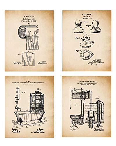 Badezimmer Wandbilder Set - Original Badezimmer Patent Prints - Toilettenpapier Patent, Gummiente Patent, Spülkasten WC Patent, Klauenwanne Patentdruck (8x10)