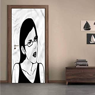 Homesonne Humor,3D Door Decal Online Hipster Face Meme for Office Decoration W36xH79