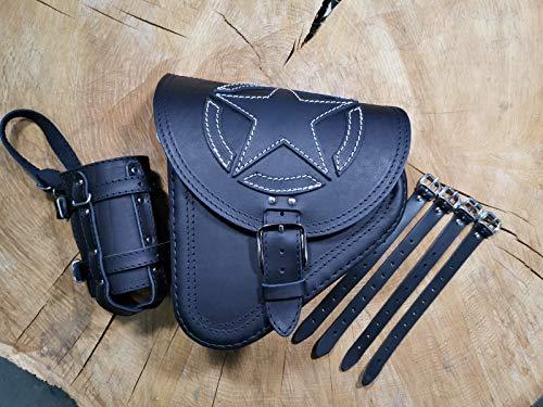 FORTUNA WHITE Satteltasche von ORLETANOS kompatibel mit Seitentasche Schwingentasche Harley Davidson Tasche schwarz Bikertasche Fatboy Heritage Starrahmen Rahmen Schwinke linke Seite Leder