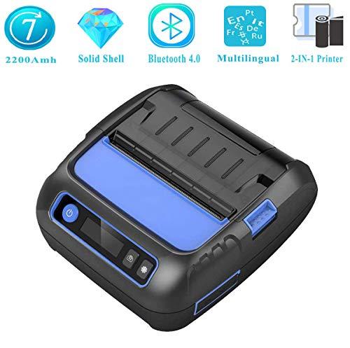 Printers 2 en 1 imprimante Thermique étiquette Bluetooth 4.0, Fabricant d'étiquettes Mobile sans Fil pour Android iOS avec Largeur réglable 20-80mm