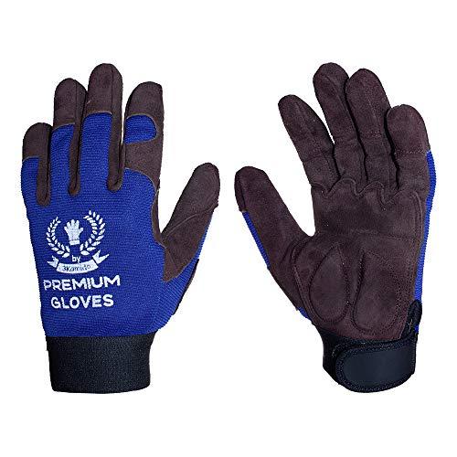 3Kamido ® Premium Guantes de Trabajo de Lujo, para la mecánica, Montaje, Embalaje, almacén, jardinería, el Transporte, Guantes de Motocicleta, Las tareas domésticas, Hobby (1 Par, 9)