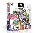 PuzzleMap Puzzle de mapa de la ciudad de Düsseldorf, XXL, 500 piezas, incluye folleto y tarjeta plegable, 86 x 46 cm, para adultos y niños, guía de viaje, regalo souvenir