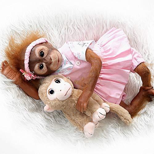 """iCradle Reborn Dolls 21"""" /52cm Adorable Reborn Baby Monkey Dolls Muñeca Suave Silicona Realistas Hermosas Muñecas Recién Nacidos Playmate (Monkey 2)"""