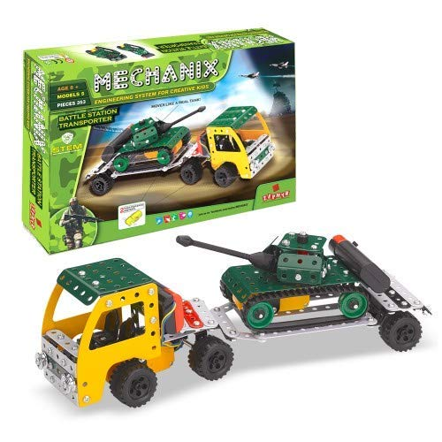 MECHANIX Battle Station Transporter Series, 353 Pieces in The Game, Can Make 5 Different Tanks Models and 1 Truck, Made in India Game, for 8+ Years of Kids