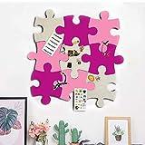 Bacheca in feltro in sughero, set di tavole a forma di puzzle a forma di puzzle, autoadesiva, per conservare foto, promemoria, foto, disegno, obiettivi, note colorate in schiuma, decorazione da parete