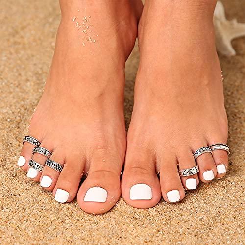 Larancie Toe Rings Set Di Anelli In Argento Anello Per Piede Da Spiaggia Boho Toe Jewelry Per Donne E Ragazze 7 pezzi