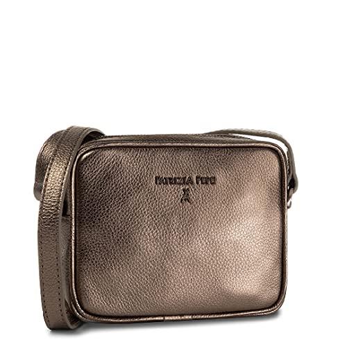 PATRIZIA PEPE Borsa Pochette con Tracolla Bag Donna in Vera Pelle Titane Metal