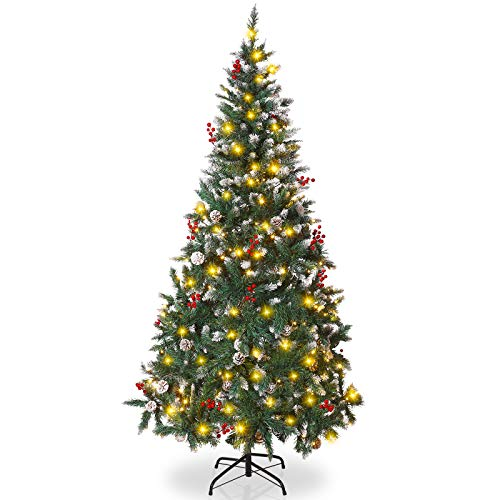 Artificial Christmas Tree, Unomor 6FT Pre-Lit Christmas Pine Tree with 8 Lighting Modes(250 Incandescent Lights), Red Berries, Pine cones and Solid Metal Stand