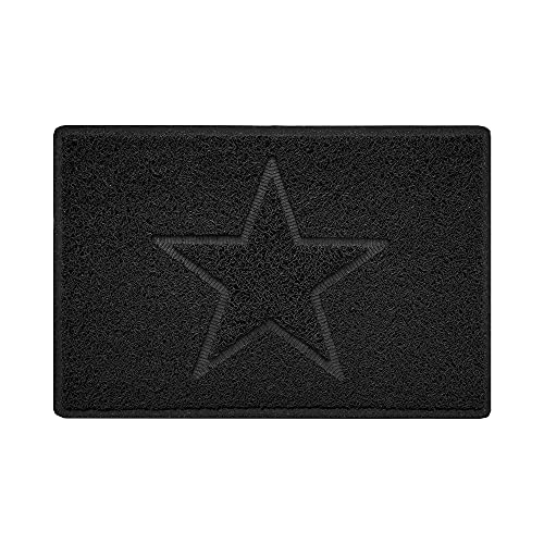 Nicoman Star Geprägt Fußmatte-(Geeignet für Innen- & Schützen Außen), Klein (60x40cm), Schwarz