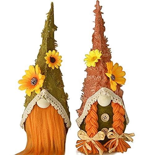 Alipher Harvest Gnome Handmade Faceless Doll Cute Thanksgiving Gnome Household Dwarf Gnome Plush Autumn Decoration Doll Desktop Ornament for Holiday 2PCS
