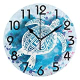 Gokruati 10 Inch Orologio da parete moderno,orologio classico rotondo silenzioso Orologio da parete piccolo orologio da tavolo per la scuola dell'ufficio domestico (Tartaruga marina alla moda)