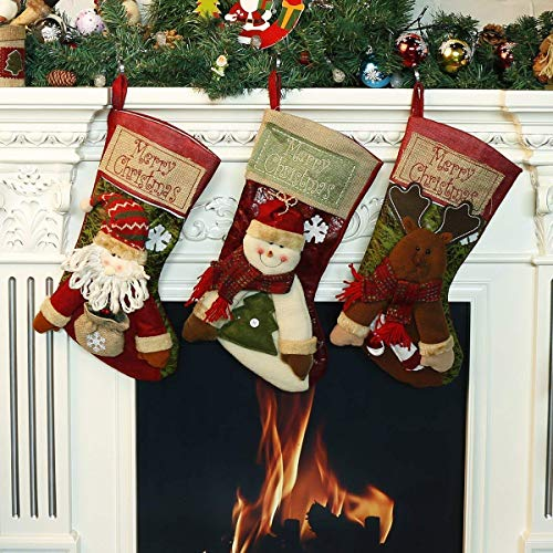 LEHONG Klassische Weihnachten Strumpf Geschenk, Weihnachtssocken Beutel Weihnachtssocke Christmas Stockings, 3-er Set 48cm