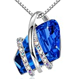 Leafael Wish Stone Pendant Necklace with Sapphire Blue Birthstone Crystal for September, 18K Rose Gold Plated, 18' + 2' Chain