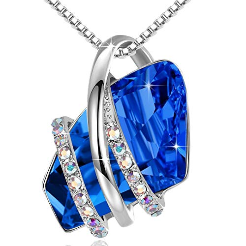 """Leafael Wish Stone Pendant Necklace with Sapphire Blue Birthstone Crystal for September, 18K Rose Gold Plated, 18"""" + 2"""" Chain"""