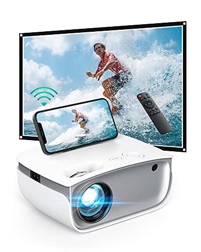Proyector Inalámbrico con Wi-Fi, Proyector LED Portátil con Resolución HD de 720p y Compatibilidad con FHD de 1080p, Brillo de 5500 Lux, Vida de la Lámpara LED 50000 Horas