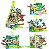 GoHist Stoffbuch für Babys, Dschungel Tierschwanz Bilderbuch Stoff Babyspielzeug Soft Bilderbücher Neugeborene Stoff Babybuch Badebuch Geschenk