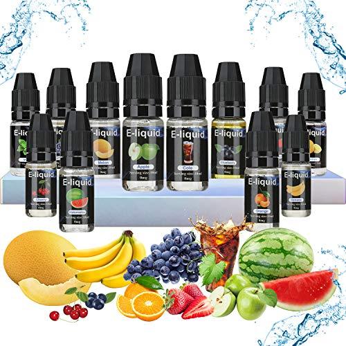 E-Liquide Pour Cigarette Electronique Liquide sans Nicotine 12 * 10ml Liquide Pour Cigarette Electronique-50VG/50PG de Fruits