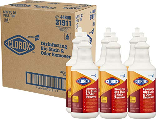 CloroxPro Disinfecting Bio Stain & Odor Remover Pull Top, 32 Ounces Each (Pack of 6) (31911) Packaging May Vary