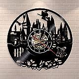 Smotly Vinyl Wanduhr, kreativ Retro Harry Potter Design Wanddekoration große Uhr, handgemachte Wanduhr Geschenk,A