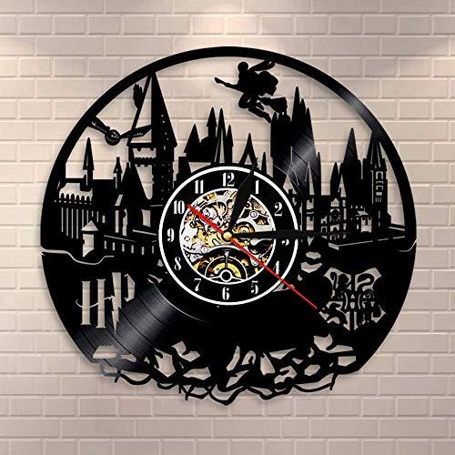 Smotly Orologio da Parete in Vinile, Creativo retrò Harry Potter Decorazione della Parete di Design Grande Orologio, Fatto a Mano Regalo Orologio da Parete,A