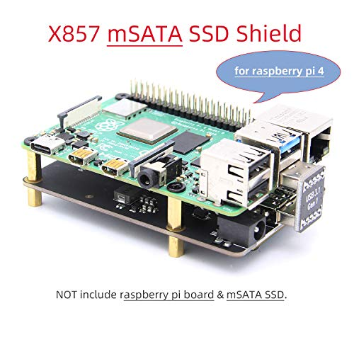 Geekworm Raspberry Pi 4 mSATA SSD Adapter X857, Raspberry Pi 4 Model B X857 mSATA SSD Expansion Board USB3.0 Module for Raspberry Pi 4B