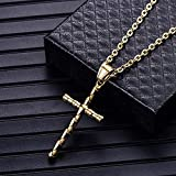 Collares Colgante Joyas Collar De Cruz para Hombre Collar con Colgante De Acero Inoxidable 316L Joyería para Hombre-Gold_with_60Cm_Chain