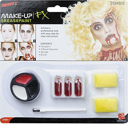 Smiffy's-37807 Set de Maquillaje de Zombi, Incluye Pintura para la Cara, cápsulas de Sangre y Esponja, Color Rojo, No es Applicable (37807)