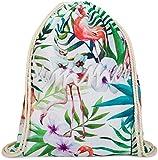 styleBREAKER Tropic Turnbeutel mit All Over Flamingo, Blumen, Blüten, Palmen, Summer' Statement Print, Rucksack, Sportbeutel, Beutel, Unisex 02012237, Farbe:Mehrfarbig