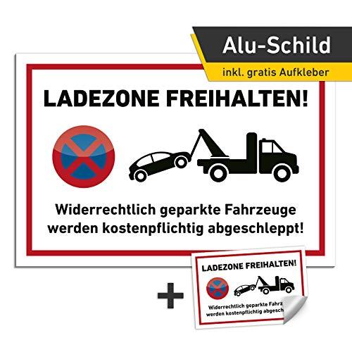 3mm Alu Schild Ladezone freihalten freihalten 30x20cm Abschleppen Privatparkplatz (mit Bohrung)