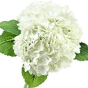 FiveSeasonStuff Real Touch Silk Hydrangea Flowers, 2 Large Long Stem Artificial Flowers for Floral Arrangements (Summer White)