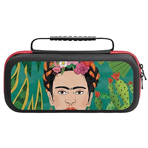 Frida-Kahlo - Funda de transporte para interruptor, funda de transporte con 20 cartuchos de juego, bolsa de viaje para consola de interruptor y accesorios