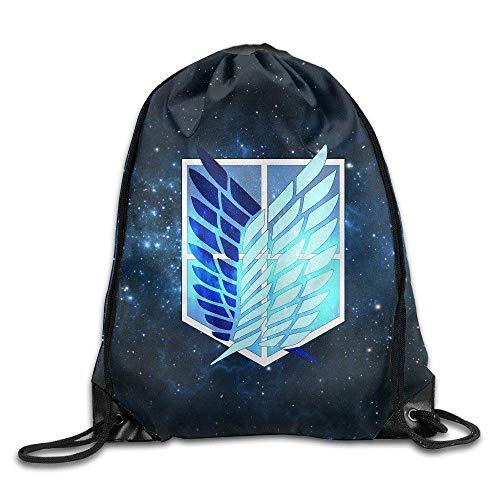 Etryrt Mochilas/Bolsas de Gimnasia,Bolsas de Cuerdas, Attack On Titan Corps Badge Drawstring Backpack Sack Bag for Gym Sport or Travel Storage