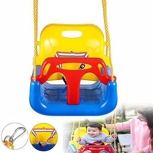 3-in-1 Tuinschommelzitje, Veilige Schommel Met Hoge Rugleuning, Verstelbaar, Plastic, Gemakkelijk Schoon Te Maken, Veiligheidsgordel, Snelle Installatie, Rood-geel-blauw