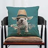 ZHAS Funda de cojín Bulldog Dog Printing Capa De Almofada Decorative Funda de Almohada Capa Almofada 450Mm * 450Mm