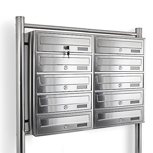 Edelstahl Stand-Briefkastenanlage Postkasten Letterbox Mailbox Doppelt mit 10 Fächer