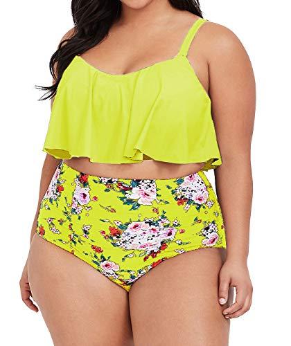 Womens Plus Size High Waisted Swimsuit Floral Bikini Ruffle Flounce Two Piece Swimwear Monokini (2X, Z-Yellow)