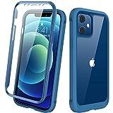 Diaclara Designed for iPhone 12 Mini Case, Full Body Rugged Case with Built-in Touch Sensitive Anti-Scratch Screen Protector, Soft TPU Bumper Case for iPhone 12 Mini 5.4' (Blue and Clear)