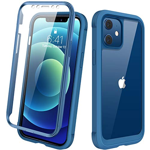 "Diaclara Designed for iPhone 12 Mini Case, Full Body Rugged Case with Built-in Touch Sensitive Anti-Scratch Screen Protector, Soft TPU Bumper Case for iPhone 12 Mini 5.4"" (Blue and Clear)"