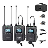 Wireless Microphone System, COMICA CVM-WM200A Professional 96-Channel UHF Dual Wireless Lavalier Lapel Microphone Kit for Canon Nikon Sony DSLR Cameras, Camcorders and Smartphone (2TX+1RX)