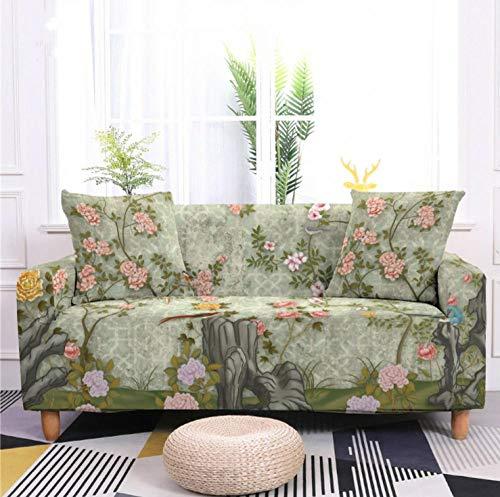 Funda de sofá de 2 Plazas Funda Elástica para Sofá Poliéster Suave Sofá Funda sofá Antideslizante Protector Cubierta de Muebles Elástica Paisaje de Flor Verde Funda de sofá